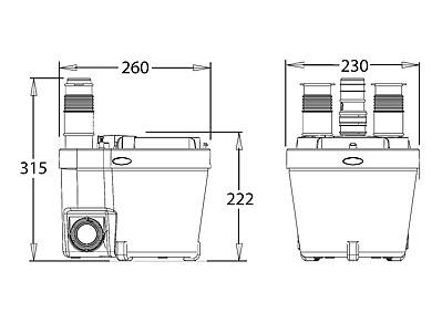Schema tecnico della pompa VD 110